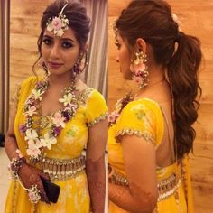 Hey Beautiful Bride-to-be! Want to know new hairstyles for indian wedding function? Here are best hairstyles for your mehndi, haldi & sangeet Engagement Hairstyles, Indian Wedding Hairstyles, Indian Wedding Outfits, Flower Jewellery For Mehndi, Flower Jewelry, Hair Jewelry, Mehndi Brides, Mehendi Outfits, Haldi Ceremony