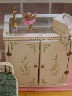 Shaumbre School of Dance ~ by T. Vanterpool,  ~ Bespaq cabinet with lovely hand painted floral detail on the doors