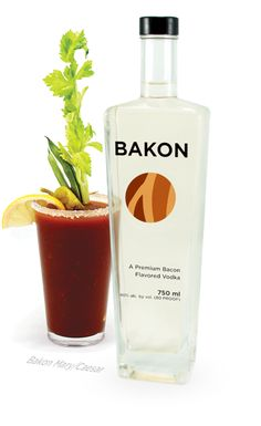 Bakon Vodka, a superior quality potato vodka with a savory bacon flavor. We start with a superior quality potato vodka. Made from Idaho potatoes, it is smooth, slightly sweet with the well-rounded … Cocktail Desserts, Vodka Cocktails, Alcoholic Drinks, Beverages, Martinis, Bacon Vodka, Bacon Flavored, Hangover Remedies, Bloody Mary Recipes