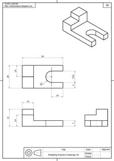 Orthographic Projection, Orthographic Drawing, Mechanical Engineering Design, Mechanical Design, Drawing Lessons For Kids, Drawing Practice, Isometric Drawing Exercises, Solidworks Tutorial, Piping Design