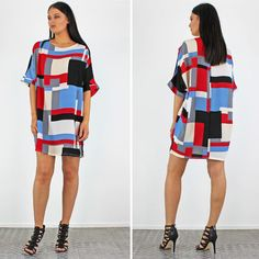 PinkCad Red Blue & Black Baggy Abstract Patterned T Shirt Dress £16.99 www.pinkcadillac.co.uk Pink Cadillac, Abstract Pattern, Red And Blue, Shirt Dress, Pretty, Womens Fashion, How To Wear, Stuff To Buy, Shirts