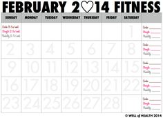 Printable February 2014 Fitness Calendar | Well of Health