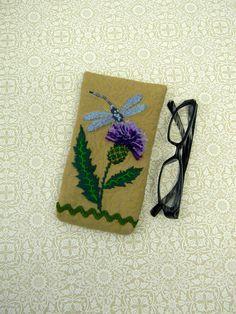 Original Blue Dragonfly on Thistle Eyeglass Case by AllasOriginals