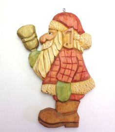 Hand carved Santa Christmas Ornament