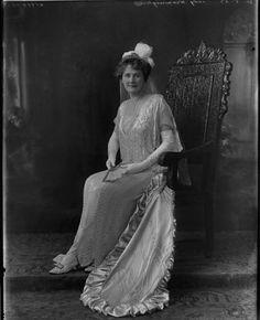 Lady Ethel Warmington, nee Gillies, wearing a delicate diamond belle epoque tiara, 1923