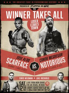 Conor McGregor vs Jose Aldo vintage style promo poster: if you love #MMA, you'll love the #UFC & #MixedMartialArts inspired fashion at CageCult: http://cagecult.com/mma