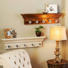 white rustic shelf with glass door knobs Door Shelves, Glass Shelves, Diy Bags Easy, Reclaimed Wood Projects, Simple Bed, Rustic Shelves, Room Doors, Easy Diy Projects, Home Living Room