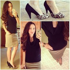Banana Republic cowl neck sweater, Jacob skirt, Call It spring Leopard pumps from JCPenney.