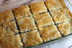 Greek Spinach Pie cut into slices