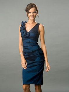 Pleats and ruffles. Oh my.   Navy Blue dress