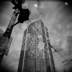 Black and White film Holga Pike Place Market Seattle Double Exposure
