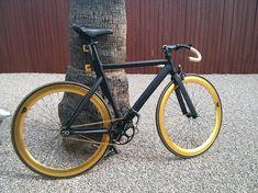 Gold rims and black frame fixie Fixed Gear Bicycle, Motorized Bicycle, Cool Bicycles, Cool Bikes, Bikes Games, Trial Bike, Commuter Bike, Big Rig Trucks, Bike Art