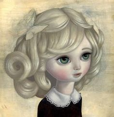 This big eyed girl is an inspiration for another painting. It reminds me of Sas Christian's paintings