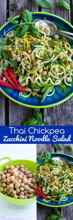 Thai Chickpea Zucchini Noodle Salad…Fantastic flavors in this healthy recipe! 143 calories and 4 Weight Watchers SmartPoints