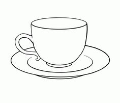 Tea Cup Colouring Page Clipart - Free to use Clip Art Resource