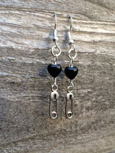 Black Onyx Hearts With Antique Silver Safety Pins Charms Earrings Modern Clip On Cute Charm Punk Rockstar Uk