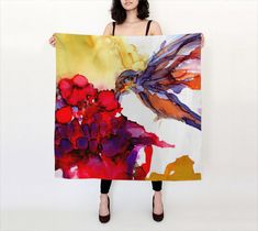 Bird Scarf Mothers Day Gift Silk Scarf Pink Scarf Red