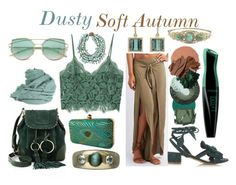Dusty Soft Autumn by prettyyourworld on Polyvore featuring MANGO, Charlotte Russe, Olgana, See by Chloé, Irene Neuwirth, Miriam Haskell, Faliero Sarti, Surratt, Bobbi Brown Cosmetics and Burberry