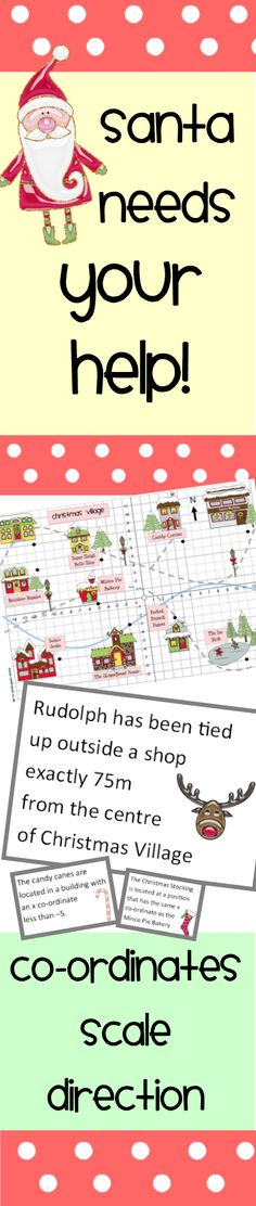 $ Christmas Math Activity! Help Santa find his belongings! Uses scale, direction, maps & co-ordinates.