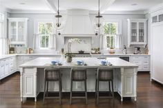 Modern Shoreline Colonial - Wadia Associates - gorgeous white on white kitchen