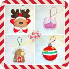 Adornos de fieltro para árbol de navidad. Reno, búho, casa de jengibre y bola. Felt Christmas tree ornaments: owl, ginger house, ball, reindeer.