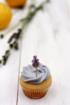 Lavender cupcakes with lemon curd filling and lavender honey buttercream