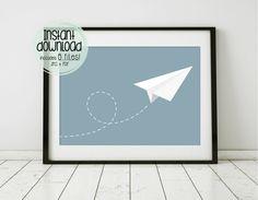 Papel avión Decor avión vivero arte volver a escuela de arte imprimible plano arte vuelo chico vivero pared decoración estampados azul regalo del bebé