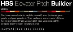 Tool from Harvard Business School to help you build a successful elevator pitch.