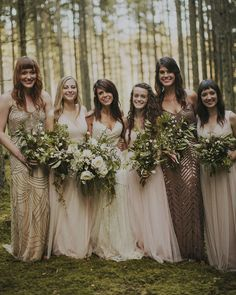 Glittery bridesmaids dresses from BHLDN + Adrianna Papell