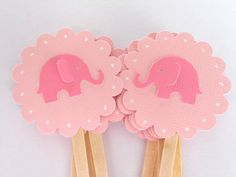 Pink Elephant Cupcake Toppers Qty 12--Baby Shower--Birthday Party. $4.50, via Etsy.