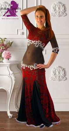 "Modern and elegant belly dance dress by Makari Dreams, ""Faridah"" collection 2016. Very beautiful high fashion velvet devore' made in Italy, amazing quality and comfort. Decorated with many glass crystals. www.makaridreams.com"