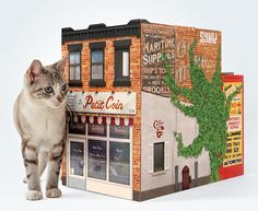 OTO Brooklyn House is a cardboard playhouse for cats! It's a tribute to the lovely weathered buildings of Brooklyn, featuring a French Bistro and a truck garage. Cardboard Cat House, Cardboard Playhouse, Brooklyn House, Brooklyn Brownstone, Dog Houses, Play Houses, Benjamin Moore, Fixer Upper, Hipster Cat