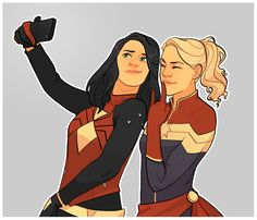 Jessica Drew (Spider-Woman) and Carol Danvers (Captain Marvel) celebrating the new costume with a BFF selfie.