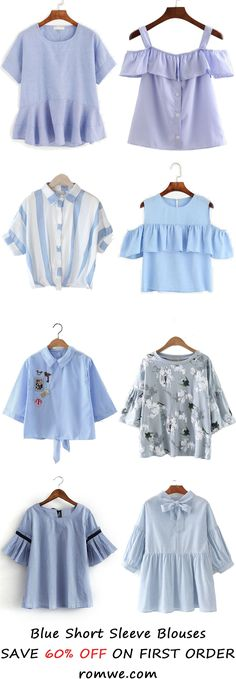 Blue Short Sleeve Blouses 2017 from romwe.com
