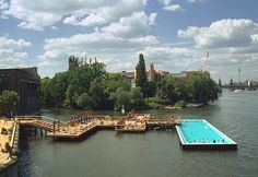 Badeschiff: a floating pool in the Spree River of Berlin, Germany