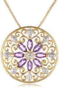 """Mother's Day Gift: 18k Yellow Gold Plated Sterling Silver African Amethyst and Diamond Accent Medallion Pendant Necklace, 18"""" -- by Amazon Curated Collection.  Click the picture to read more...."""