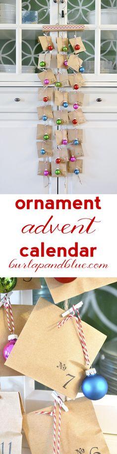 ornament advent calendar via burlap+blue