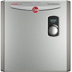 Rheem 27 kW Electric Tankless Water Heater Ext Adj Temp Ctrl Bot in. Water Trampoline, Tankless Hot Water Heater, Water Heating, Gas And Electric, Heating Element, Water Flow, Water Supply, Plumbing, Things To Sell