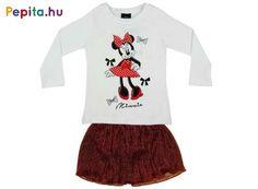 Igazán csajos darab, amely színének és mintázatának köszönhetően biztos, hogy gyerkőcöd nagy kedvence lesz. Pamutból készült, így gyönyörű megjelenése mellett, nagyon kényelmes is!    Jellemzői:  - 90% pamut  - 10% poliészter  - 1 db hosszú ujjú póló  - 1 db szoknya  - 100% poliészter Minnie Mouse, Crop Tops, Disney, T Shirt, Women, Products, Fashion, Supreme T Shirt, Moda