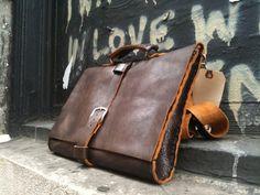 Italian shoulder mens leather briefcase coffee brown by Aixa. $399.00, via Etsy.