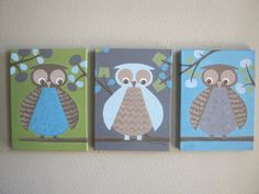 Owl paintings for nursery to match Dwell by CarrieSweeneyArt, $150.00