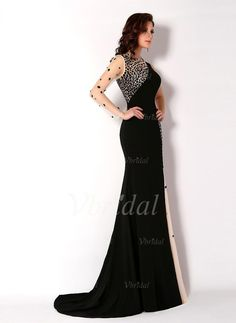 Trumpet/Mermaid Scoop Neck Court Train Beading Chiffon Tulle Zipper Up Sleeves Long Sleeves No Black Champagne Winter Spring Fall General Evening Dress
