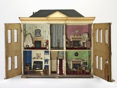 The Elkin House (Dolls' house) by Cohen, Meyer, (made). Dolls' house known as the Elkin House made in England between 1800 and Museum Number Woodcraft Construction Kit, Paper Doll House, Antique Dollhouse, Antique Toys, Vintage Toys, Miniature Rooms, House Inside, Barbie Furniture, Wooden Crates
