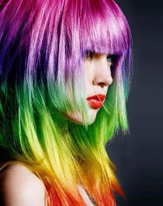 Rainbow Colored Hair. I wouldn't do it to my hair, but it's just so awesome!!!!!!!!!