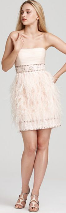 Sue Wong Strapless Feather Dress #strapless #cocktail #dress #feather #sue #wong