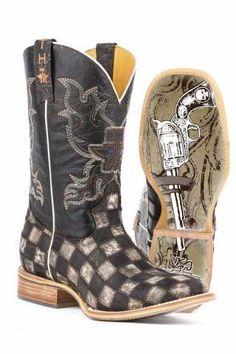 ef6edff996c Men s Cowboy Boots Tin Haul Brown Gun Metal Check
