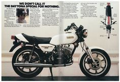 The 1979 Yamaha a two-stroke known also as the Daytona Special. And it is special indeed. Yamaha Motorbikes, Yamaha Motorcycles, Street Bikes, Road Bikes, Motorcycle Manufacturers, Motorcycle Garage, Dragon Slayer, Honda Cb, Classic Bikes