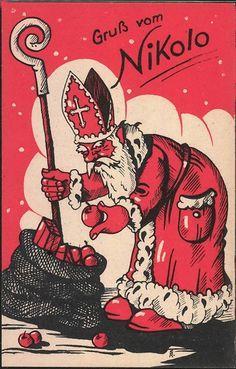 Ansichtskarte - Der Nikolaus füllt einen Sack mit Geschenken