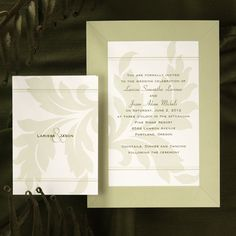 Wedding invitation idea for Autumn weddings leaf it to love.A light green leaf design accents your wording on this soft white invitation.  VR6768-99
