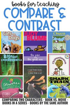 Are you getting ready to teach your students to compare and contrast? It& very important to have the right materials on hand. Here are some of my favorite books to use when teaching students to compare and contrast. Comprehension Strategies, Reading Strategies, Reading Activities, Reading Skills, Reading Comprehension, Reading Lessons, Math Lessons, 4th Grade Reading, Guided Reading